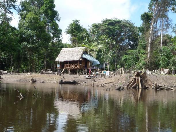 Kunyhó az Amazonas őserdeiben (Iquitos, Perú)